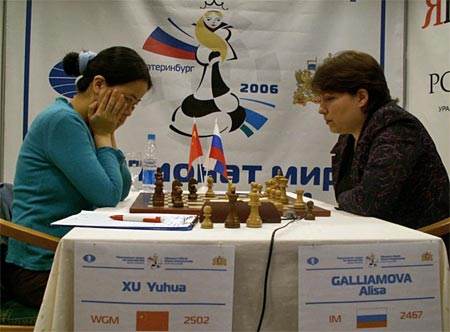 China's Xu Yuhua defeated Alisa Galliamova in the final of the FIDE Women's World Championship. Photo by ChessBase.
