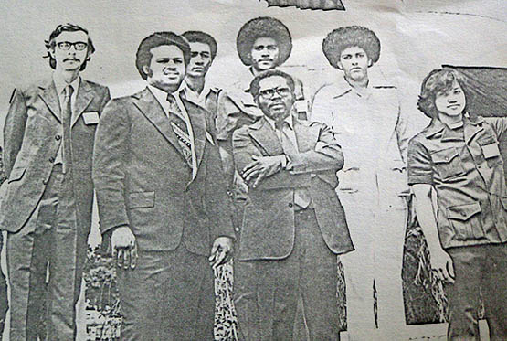 Jamaica's team at the opening ceremony of the 23rd World Students' Chess Olympiad in Caracas, Venezuela, 7-22 August, 1976. From left: Bob Wheeler, John Powell (deceased), Peter Mundell, David Hunt (deceased), Enos Grant (Captain/delegate, deceased), Orrin Tonsingh (deceased), and Sheldon Wong.
