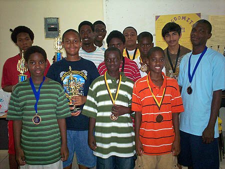Participants of 2007 Bahamas Jr. Championship - from left Sanchez Brown, Akini Morris, Dante Delaney, Kristian Plakaris, Elton Joseph, Javon Parker, Gary Black, Gary Deal-Laroda, David Bullard, Travis Miller, Sameer Chopra and LeShawn Smith. Photo by Bahamas Chess Federation.