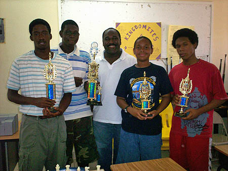 Top finishers-from left Kristian Plakaris, Elton Joseph, Kean Smith, Dante Delaney and Sanchez Brown. Photo by Bahamas Chess Federation.