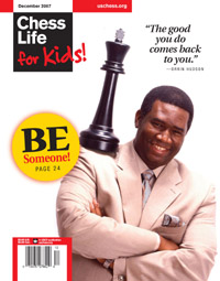 Orrin Hudson on the cover of Chess Life for Kids, December 2007.