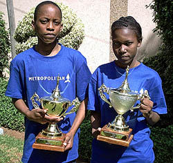 Thabo Gumpo and Otshepo Seidisa show their under-21 trophies. Photo by Kenneth Boikhtuswane.