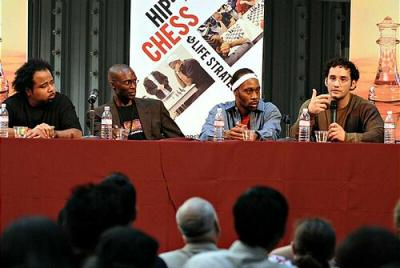 From left, Rakaa of Dilated Peoples, Daaim Shabazz, Creator/Webmaster of The Chess Drum, RZA of Wu-Tang Clan, and Josh Waitzkin, former National Chess Champion and author of the book