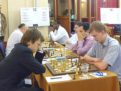 Lithuania-Sweden at the 2007 European Team Championships with GM Pontus Carlsson at the far end waiting on his opponent. Photo courtesy of chessdom.com.