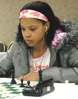 Medina Mathis at the All-Girls tournament in Chicago where she placed 2nd in the under-18 section. Photo by Betty Dynako.