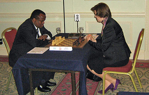 Jamaican Champion Duane Rowe would need only 18 moves to dispatch of Oxford's WIM Olena Boytsun. Photo by John Tobisch.