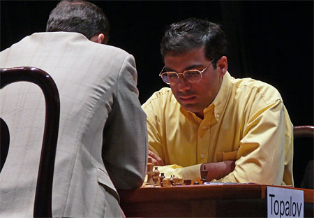 Viswanathan Anand on his way to eclipsing Topalov.