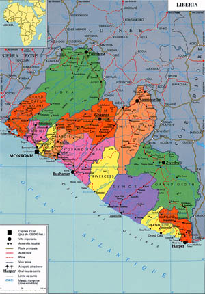 Map of Liberia, West Africa