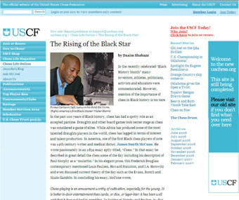 "US Chess Online's Jennifer Shahade ran ""The Rising of the Black Star. Daaim Shabazz honored a request for the article by Shahade."
