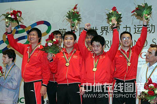 Chinese men in jubilation after winning gold in rapid team men's event. From left to right are GMs Yi Jiangchuan, Bu Xiangzhi, Li Chao, Wang Hao, Wang Yue, Ni Hua. The chess world needs to get used to this image. Photo by SportPhoto.CN.
