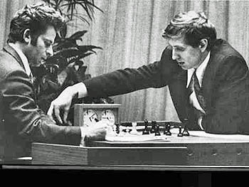 Bobby Fischer (right) on the move against Boris Spassky in their pivotal 1972 match in Reykjavik, Iceland.