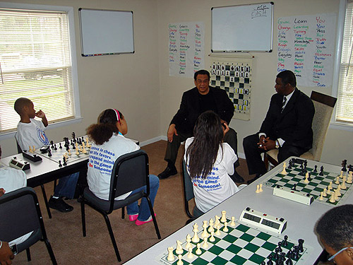 Andrew Young speaking to children at BeSomeone training facility. Photo courtesy of Orrin Hudson.