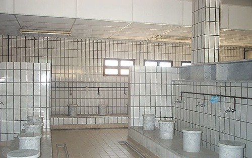 The washroom of the mosque where Muslims wash before prayer.