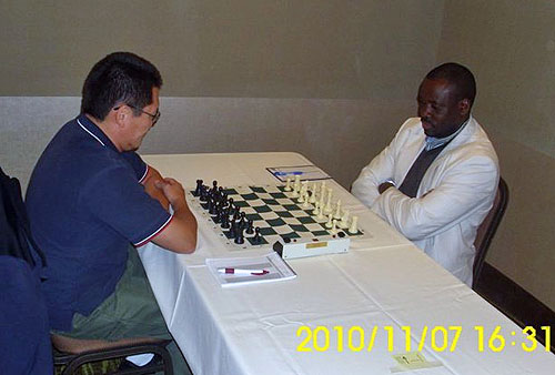 IM Oladapo Adu (right) set to face off against the ever-tough IM Enkhbat Tegshsuren. Photo courtesy of Oladapo Adu.