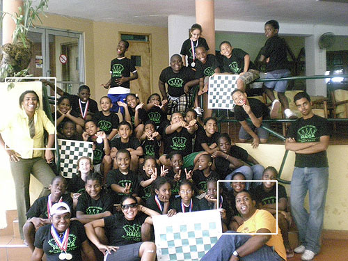 L'Académie d'Echecs HAICA is an organization founded on 14 January 2008 to promote chess in Haiti. It is connected with the Ministry of Social Affairs and the Haitian Chess Federation. Sabine Bonnet, President, is on the far left.