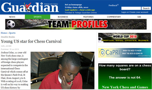 Josh Colas in Trinidad Guardian