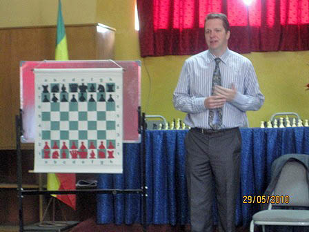 Nigel Short giving a presentation in Ethiopia.