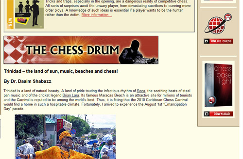 Trinidad featured on ChessBase!