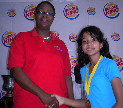 National Under 12 Champion Rachel Miller (right) was adjudged the 'Best Female Player' in the 2011 Burger King National Junior Chess Gala.