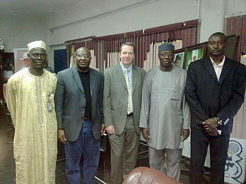 "Left to Right: NCF President Sani Mohammed, NCF International Coordinator, Kunle Elegbede, Grandmaster <strong>Nigel Short</strong>, Director of the National Sports Commission, Dr Patrick Ekeji and a one time gold medal winner for Nigeria at the 1998 Chess Olympiad, International master Odion Aikhoje."" /></p> <p><em>Left to Right: NCF President <strong>Sani Mohammed</strong>, NCF International Coordinator, <strong>Kunle Elegbede</strong>, Grandmaster Nigel Short, Director of the National Sports Commission, <strong>Dr Patrick Ekeji</strong> and a one time gold medal winner for Nigeria at the 1998 Chess Olympiad, International master <strong>Odion Aikhoje</strong>.</em></p> <p>Short squared off against members of the national teams, a junior team and a variety of chess enthusiasts. </p> <p><img src="