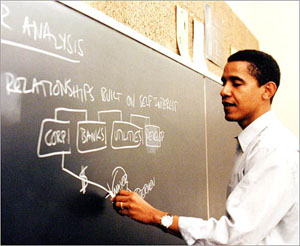 Barack Obama as a law professor at U of C.