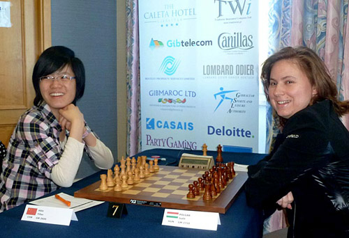 Hou Yifan facing Judit Polgar in a historic battle. Hou won and exciting battle. Photo by Zeljka Malobabic © Tradewise Insurance Ltd.