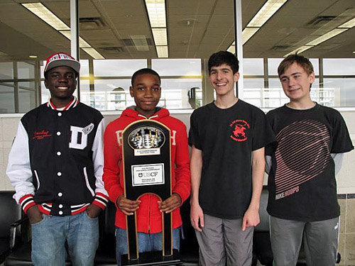 National Champions...Justus Williams, James Black, Isaac Barayev and Matthew Kluska, members of the I.S. 318 Chess Team.