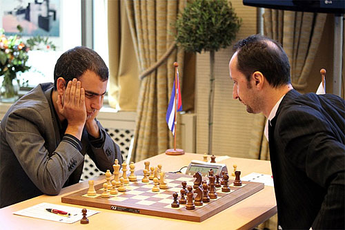 Leinier Dominguez enroute to beating Veselin Topalov to win the FIDE Grand Prix in Thessaloniki, Greece. Photo by Anastasiya Karlovich.