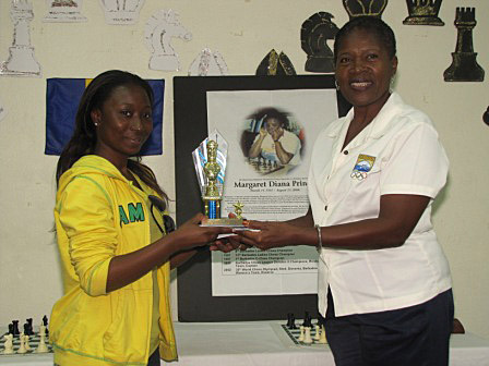 Krishna Gray of Jamaica accepting her 1st place award.