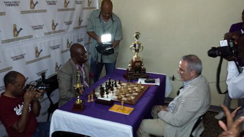 Ian Wilkinson playing Garry Kasparov for a photo-op.