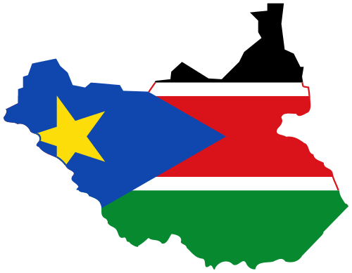 Flag and Map of the South Sudan