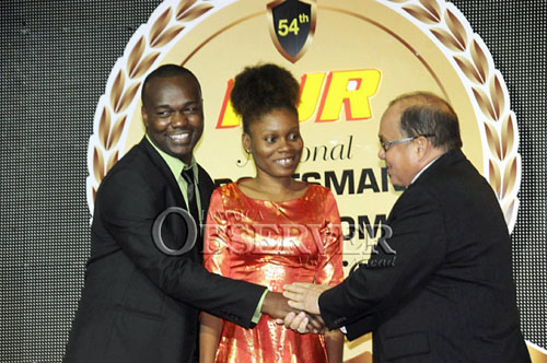 FM Damion Davy collects his plaudits while Deborah acknowledges.