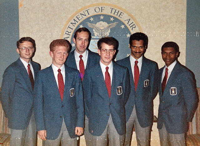 The Air Force at the 1987 U.S. Armed Forces Championship banquet in Washington, D.C. Left to right: Brian Lankey, Bobby Moore, Greg Vitko, Martin Dean, Emory Tate Jr. and Leroy Hill.  Photo by U.S. Air Force Morale, Welfare and Recreation (MWR).