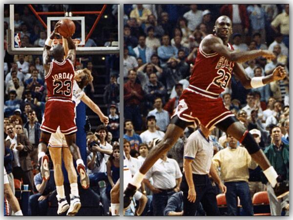 Michael Jordan celebrates winning shot over Craig Ehlo in first round of 1989 NBA playoffs.