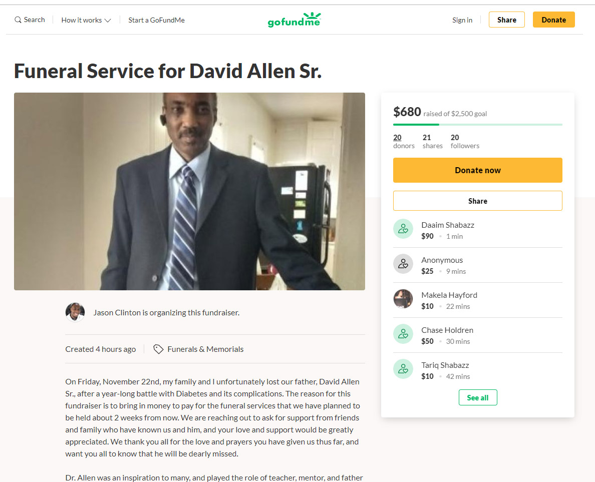 Fundraiser for David Allen