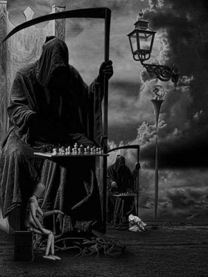 Grim Reaper at the chess board