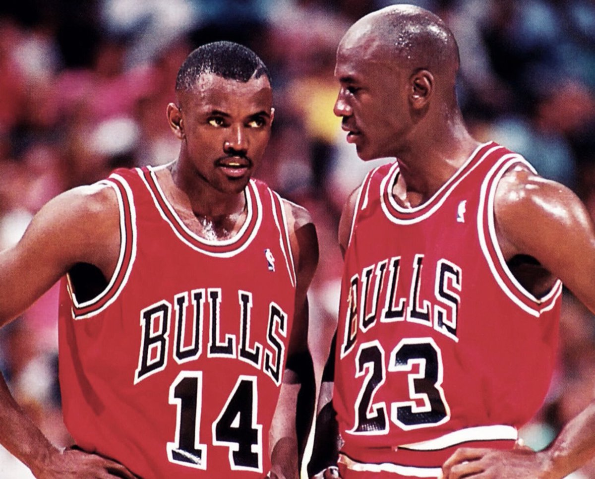 Craig Hodges with Michael Jordan during championships years.