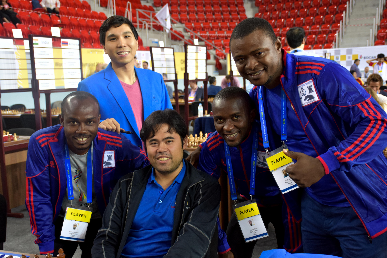Wesley So and Hikaru Nakamura with Liberia at 2018 Chess Olympiad in Batumi. Photo by David Llada