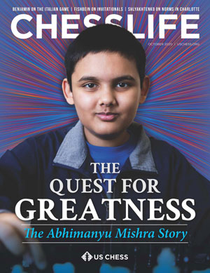 Abhimanyu Mishra in cover of Octoer 2020 Chess Life