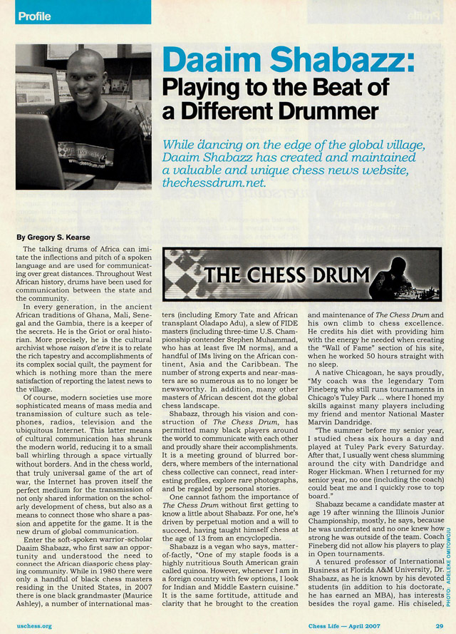 Daaim Shabazz: Playing to the Beat of a Different Drummer (Chess Life - April 2007)