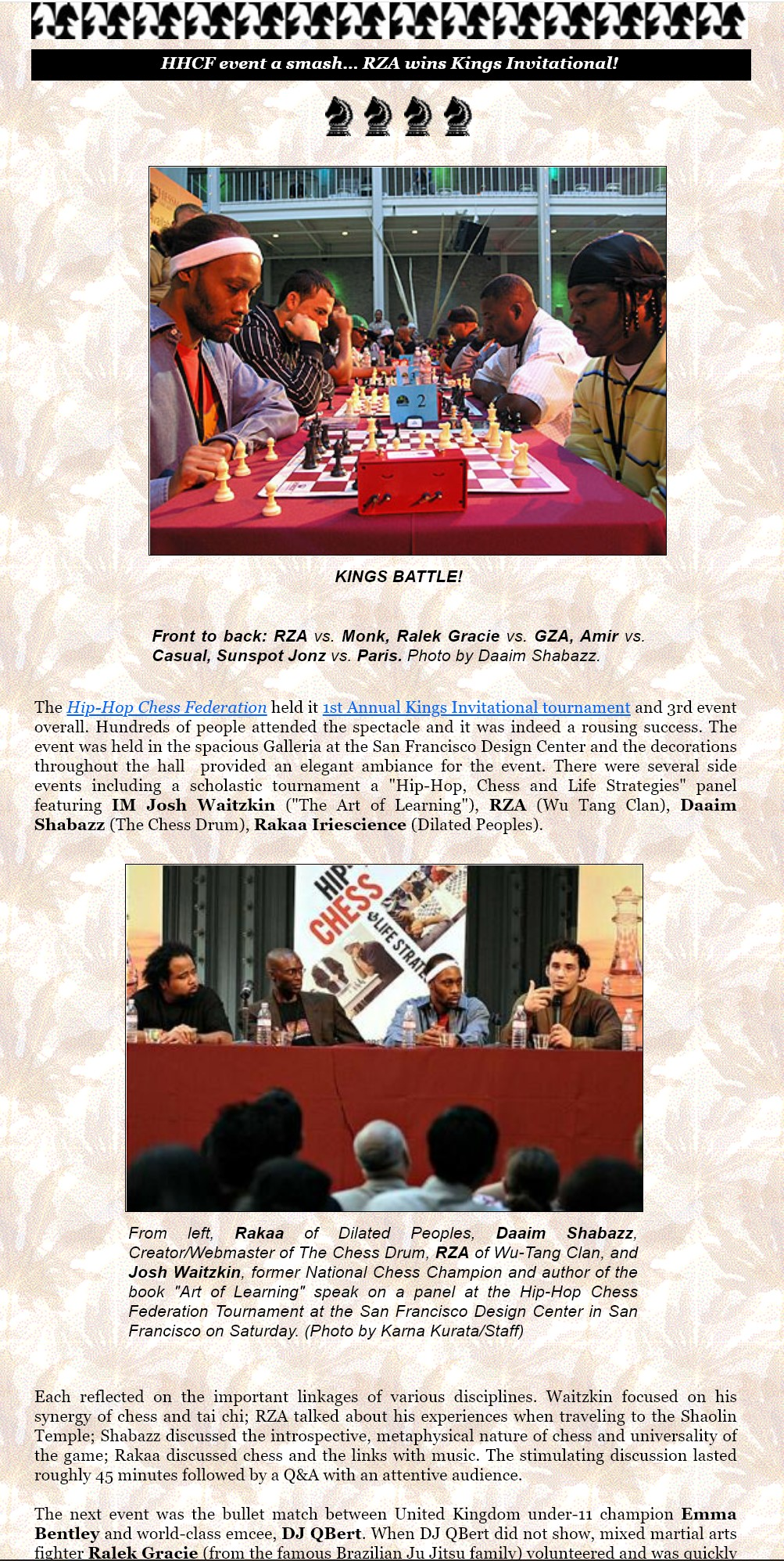 Hip-Hop Chess Federation King's Invitational & Panel Discussion