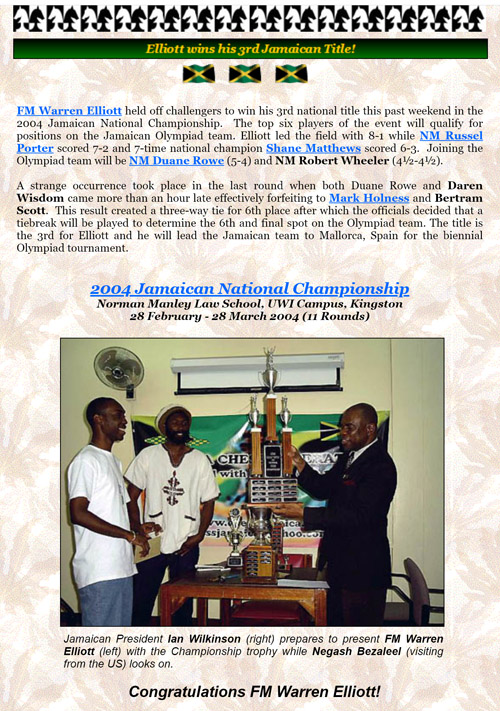 Jamaican President Ian Wilkinson (right) prepares to present FM Warren Elliott (left) with the Championship trophy while Negash Bezaleel (visiting from the US) looks on.