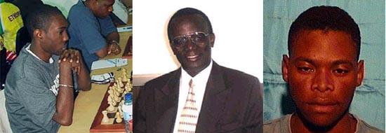FM Warren Elliott (Jamaica), Daniel Nsibambi (Uganda), IM Pedro Adérito (Angola)