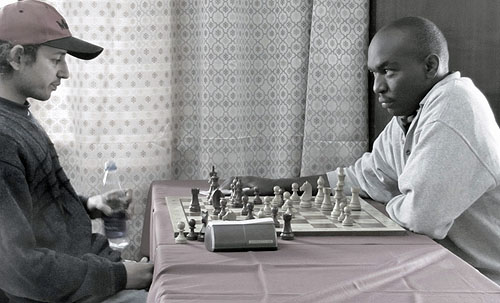 George Nderitu (right) casts an ominous look at Mehul Gohil