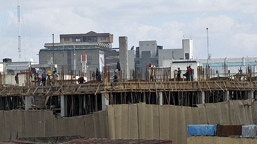 Kenyan economy is experiencing a boom...another highrise begins to go up on Tom Mboya.