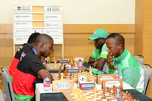 Malawi vs. Nigeria. Photo by Mohamed Bounaji/FIDE