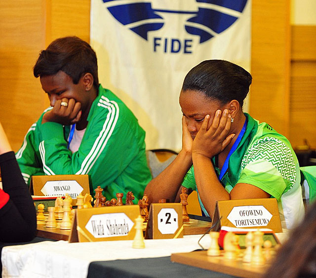 Lorita Mwango (Zambia) and Toritsemuwa Ofowino. Photo by Mohamed Bounaji/FIDE