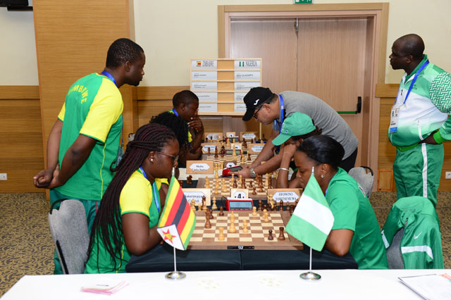 Zimbabwe vs. Nigeria fought to a thrilling 2-2 draw. Photo by Mohamed Bounaji/FIDE