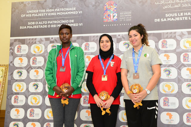 Lorita Mwango (Zambia), Shrook Wafa (Egypt) and Sabrina Letreche. Photo by Mohamed Bounaji/FIDE