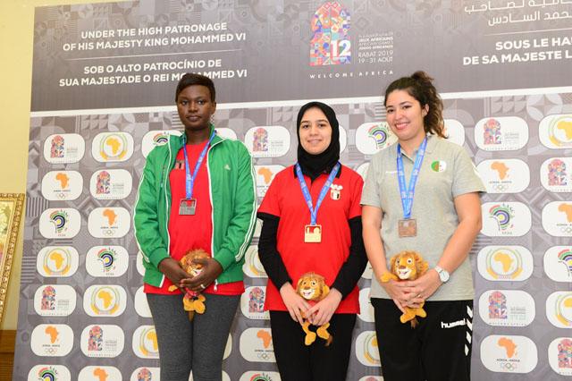Lorita Mwango (Zambia), Shrook Wafa (Egypt) and Sabrina Letreche. Photo by Mohamed Bounaji/FIDE